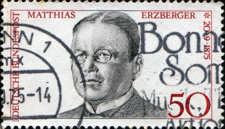 signer: GERMANY - CIRCA 1975  A stamp printed in German Federal Republic shows Matthias Erzberger, signer of Compiegne Armistice at end of World War I, circa 1975