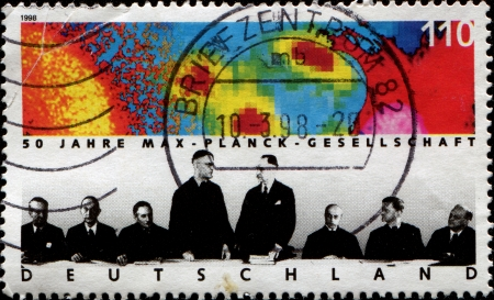 planck: GERMANY - CIRCA 1998  A stamp printed in German Federal Republic shows hows Max Planck Society for Advancement of Science, circa 1998 Editorial
