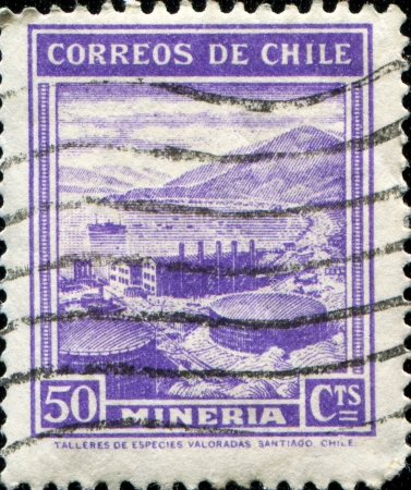 CHILE - CIRCA 1938  A stamp printed in Chile shows Mining, circa 1938  photo
