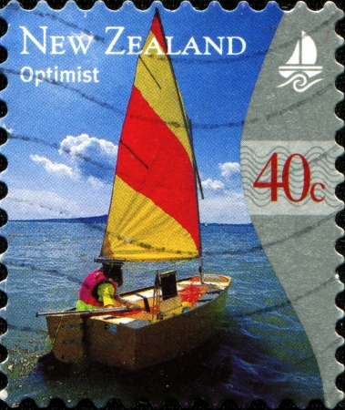 optimist: NEW ZEALAND - CIRCA 2007  A stamp printed in New Zealand shows yacht  Optimist , circa 2007