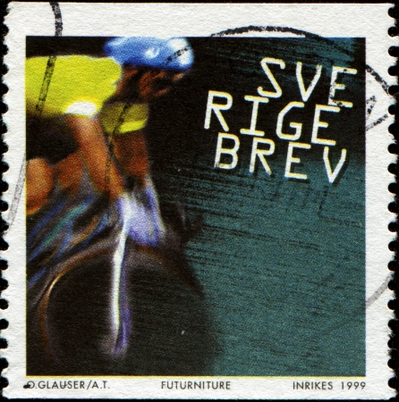 SWEDEN - CIRCA 1999  A stamp printed in Sweden shows Cyclist Riding, circa 1999 Stock Photo - 14200677