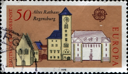 GERMANY - CIRCA 1978  A stamp printed in Germany, shows the old Town Hall, Regensburg, circa 1978  Stock Photo - 14198218