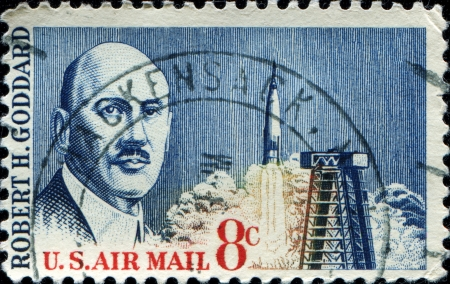 UNITED STATES - CIRCA 1964  A stamp printed in United states shows Dr  Robert H  Goddard, circa 1964  Stock Photo - 14200627