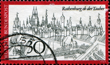 GERMANY - CIRCA 1971  A stamp printed in the German Ferderal Republic shows Rothenburg on Tauber, circa 1971 Stock Photo - 14198183