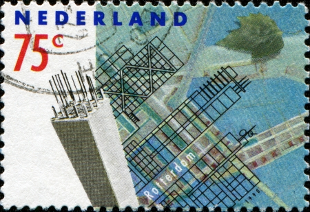 bombardment: NETHERLANDS - CIRCA 1990  a stamp printed in the Netherlands shows Modern Buildings, Rotterdam Reconstruction after devastating bombardment in WWII, circa 1990