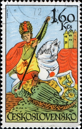 CZECHOSLOVAKIA - CIRCA 1972  A stamp printed in Czechoslovakia shows St  George, circa 1972  Stock Photo - 14198527