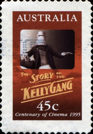 AUSTRALIA - CIRCA 1995  A stamp printed in Australia shows movie poster the story of the Kelly Gang, circa 1995