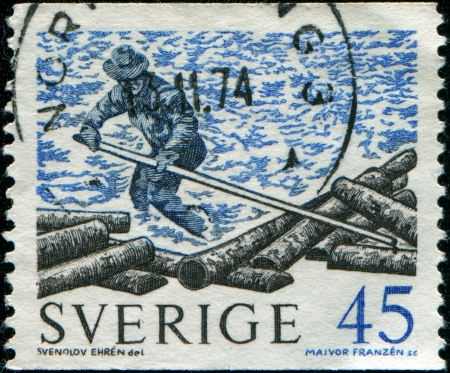 SWEDEN - CIRCA 1967  A stamp printed in Sweden shows Floating logs, circa 1967 Stock Photo - 14198599