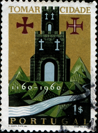 PORTUGAL - CIRCA 1966  A stamp printed in Portugal shows Tomar Castle, circa 1966 Stock Photo - 14198217