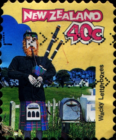 scotish: NEW ZEALAND - CIRCA 1997  A stamp printed in New Zealand shows Wacky Letterboxes in the form of scotish man, circa 1997  Stock Photo