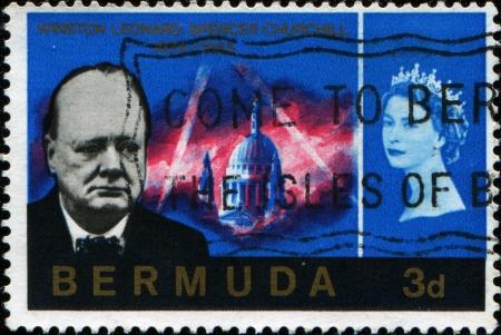 spencer: BERMUDA - CIRCA 1966  A stamp printed in Bermuda shows Winston Leonard Spencer Churchill, circa 1966