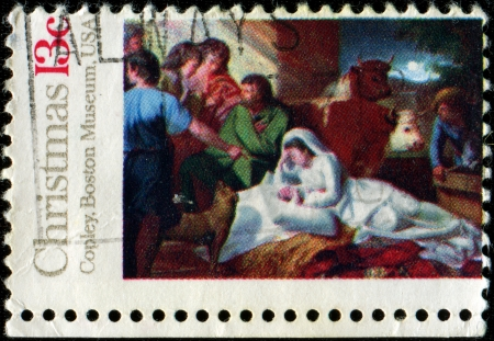 UNITED STATES OF AMERICA - CIRCA 1976  Christmass stamp printed in the USA shows draw  Madonna and Child  by John Copley from Boston Museum, circa 1976  photo