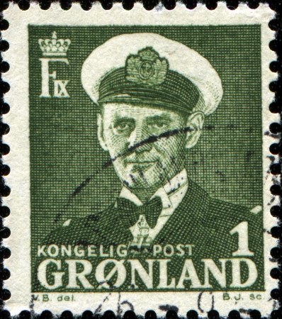 ix: GREENLAND - CIRCA 1950  A stamp printed in Greenland shows King Frederik IX of Denmark , circa 1950  Editorial