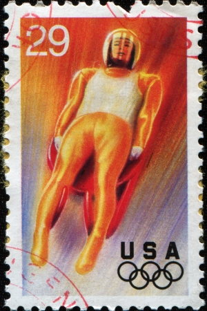 luge: USA - CIRCA 1994  A Stamp printed in USA shows luge, 17th Winter Olympic Games Lillehammer, Norway, series, circa 1994 Editorial