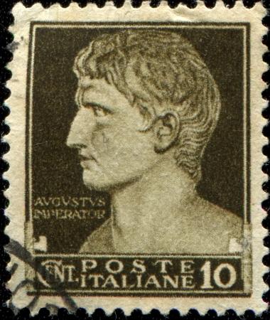 augustus: ITALY - CIRCA 1929  A stamp printed in Italy shows Augustus Caesar, circa 1929  Editorial