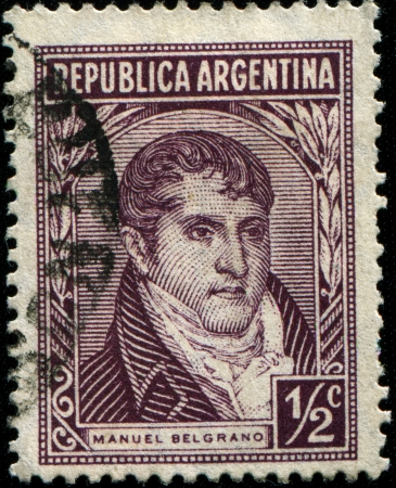 ARGENTINA - CIRCA 1935  A stamp printed in the Argentina, depicts a lawyer, politician and General Manuel Belgrano, circa 1935