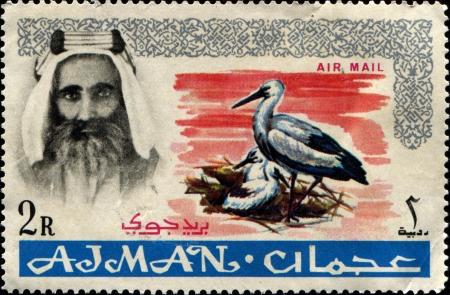 sheik: AJMAN - CIRCA 1971  A stamp printed in one of the emirates in the United Arab Emirates shows White stork and Sheik Rashid bin Humaid al Naimi, series, circa 1971