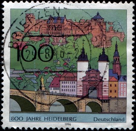 GERMANY - CIRCA 1996  A stamp printed in German Federal Republic honoring 8000 anniversary of Heidelberg, circa 1996 Stock Photo - 14332801