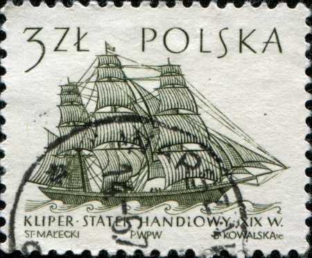 POLAND - CIRCA 1963  A stamp printed in the Poland shows Clipper ship trade, one stamp from series, circa 1963 photo