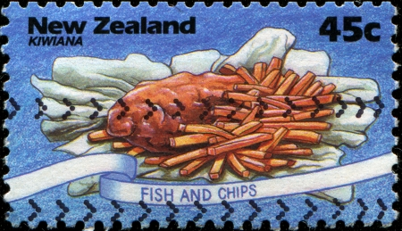 NEW ZEALAND - CIRCA 1994  A stamp printed in New Zealand shows Fish and Chips, circa 1994  photo