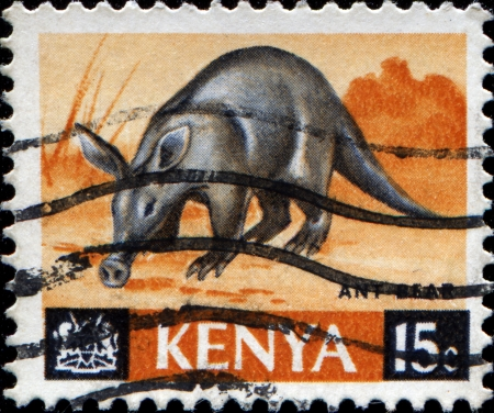 KENYA - CIRCA 1966  A stamp printed in Kenya shows ant bear, circa 1966 photo