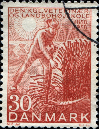 centenary: DENMARK - CIRCA 1958  A stamp printed in Denmark honoring Centenary of Danish Royal Veterinary and Agricultural College, shows Harvester, circa 1958
