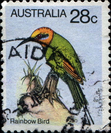 AUSTRALIA - CIRCA 1980  A stamp printed in Australia shows rainbow bird, circa 1980 photo