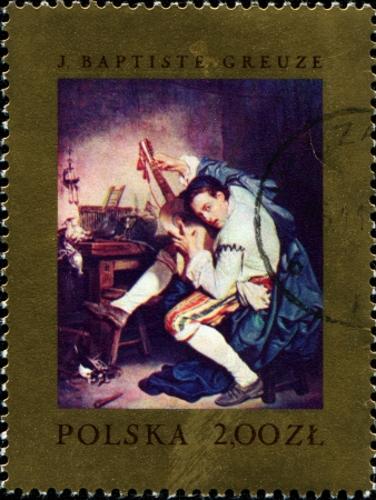 POLAND - CIRCA 1967  A stamp printed in Poland shows Fowler tuning Guitar by Jean-Baptiste Greuze, Famous Paintings series,  circa 1967 Stock Photo - 14371778