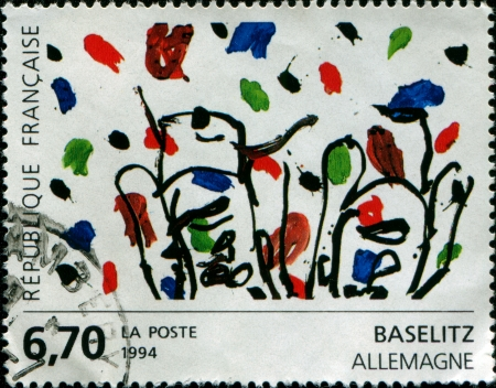 FRANCE - CIRCA 1984  A stamp printed in France Contemporary Art in Europe  Georg Baselitz - Germany, circa 1984 photo