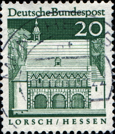bundes: WEST GERMANY - CIRCA 1968  A stamp printed in West Germany shows Abbey Lorsch  Hesse  was established, the larger estates and churches in the country had Neckar, circa 1968