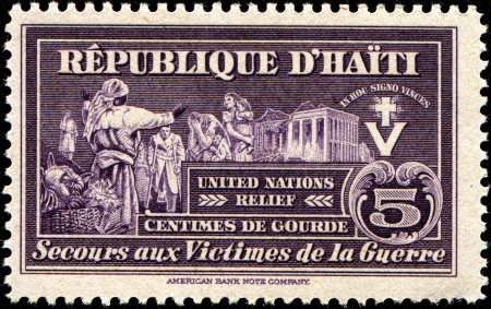 HAITI - CIRCA 1944   A stamp printed in Haiti  shows United Nations Relief Fund, circa 1944 photo
