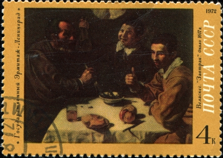 USSR - CIRCA 1972  A stamp printed in the USSR shows The state Hermitage Leningrad Velasquez  Brekfast  circa 1972 Stock Photo - 14407614