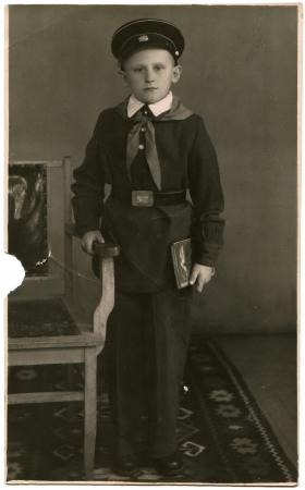 pioneering: Boy in school uniform with a pioneering tie, USSR, 1960s