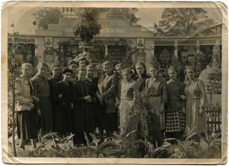 gorky: group of students at the Agricultural Exhibition in Gorky Park, Lugansk, Ukraine, autumn 1955