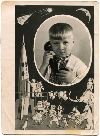 issued: portrait of a little boy in the Ukrainian embroidered with the phone in his hand, issued a vignette on the space theme, USSR, May 31, 1961