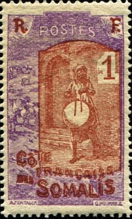 somali: FRENCH SOMALI COAST - CIRCA 1909  A stamp printed in French Somali Coast shows Somali Warrior, circa 1909