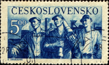 CZECHOSLOVAKIA - CIRCA 1950  A stamp printed in Czechoslovakia, shows Miners, circa 1950 Stock Photo - 14407693