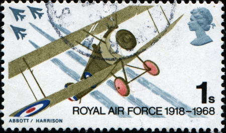 GREAT BRITAIN - CIRCA 1968  a stamp printed in the Great Britain shows Sopwith Camel and English Electric Lightning fighters, circa 1968  photo