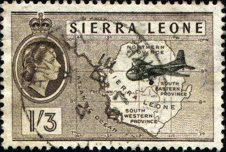 sierra: SIERRA LEONE - CIRCA 1956  A stamp printed in Sierra Leone showsAirplane   Map, circa 1956