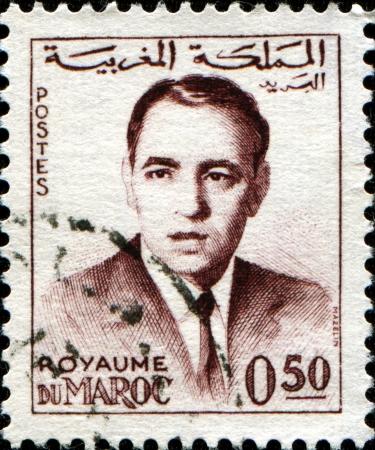 MOROCCO - CIRCA 1962  A stamp printed in Morocco shows  king of Morocco Hassan II, circa 1962  Stock Photo - 14423889