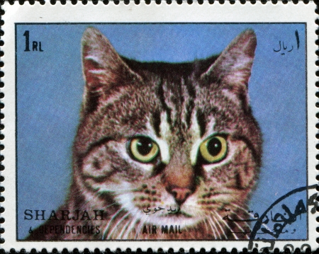 dependencies: SHARJAH AND DEPENDENCIES, UAE - CIRCA 1972  Stamps printed in Sharjah and Dependencies  United Arab Emirates  shows european cat, circa 1972