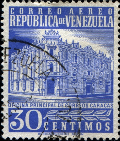 VENEZUELA - CIRCA 1953  Stamp printed in the Venezuela shows post office, Caracas, 1953 Stock Photo - 14423950