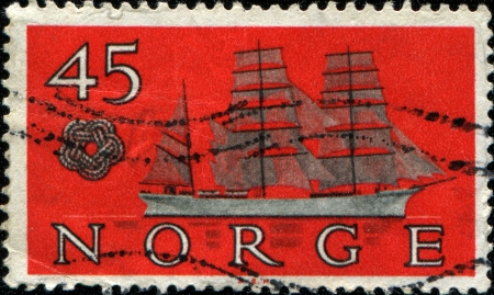 NORWAY - CIRCA 1960  a stamp printed in the Norway shows Skomvaer  barque , circa 1960 photo