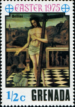 GRENADA - CIRCA 1975  A stamp printed in Grenada shows   Blood of the Redeemer  by Bellini, circa 1975  photo