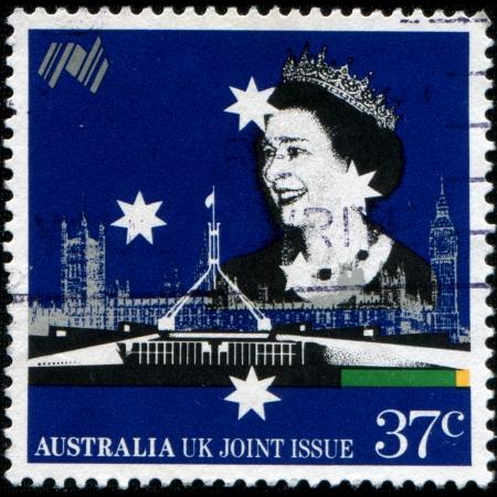 AUSTRALIA - CIRCA 1988  A stamp printed in Australia shows Queen Elizabeth II, circa 1988