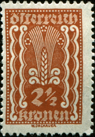 nominal: AUSTRIA - CIRCA 1924  Austrian postage stamp showing the spike in the center of a nominal value of 2 1 2 kronen, circa 1924  Stock Photo