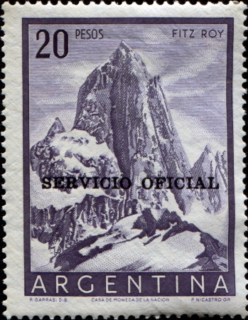 ARGENTINA - CIRCA 1954  A stamp printed in the Argentina shows Fitz Roy mount, circa 1954  photo