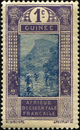 FRENCH GUINEA - CIRCA 1913  A stamp printed in French Guinea shows Ford at Kitim, circa 1913 photo