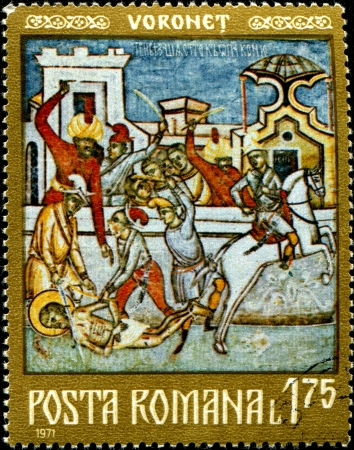 ROMANIA - CIRCA 1971  A stamp printed in Romania shows Voronet frescoe, circa 1971 Stock Photo - 14436812