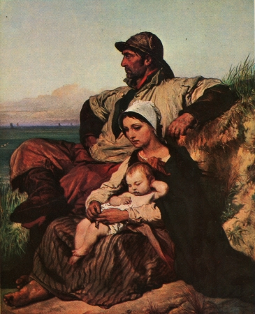 Louis Gallait  1810 - 1887  Family of Fisherman, 1848, Hermitage, St Petersburg, vintage postcard, 1980